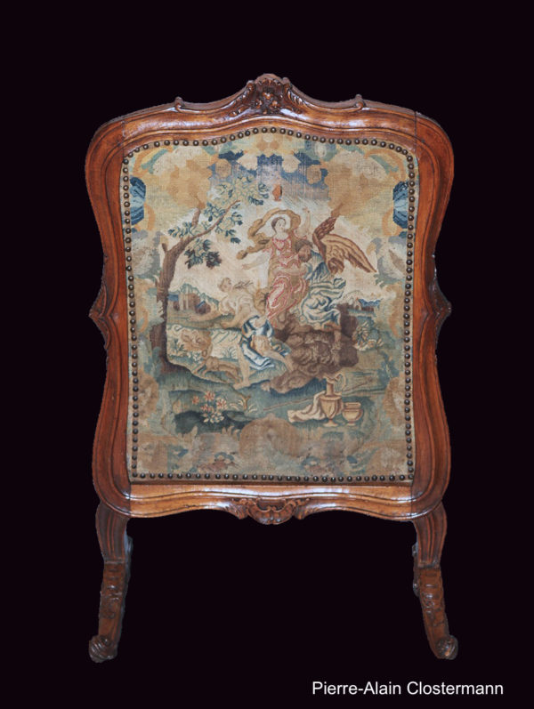 Fireplace screen with mythological tapestry, c. 1720