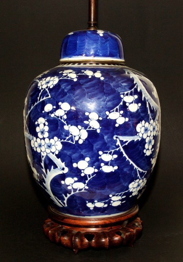 Large chinese ginger jar with lamp - 19th century