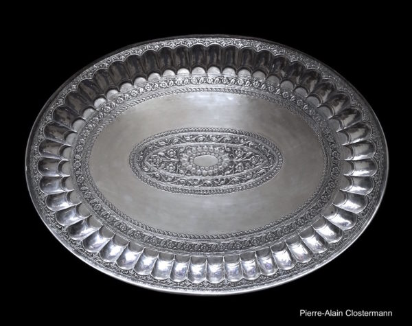 Large silver Thali - India, Early 18th c.