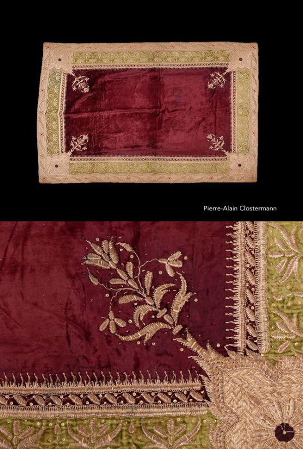Maharaja's silver thread embroidered rug - India, 19th c.