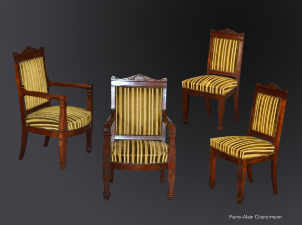 Mahogany chairs and armchairs set - ca. 1810