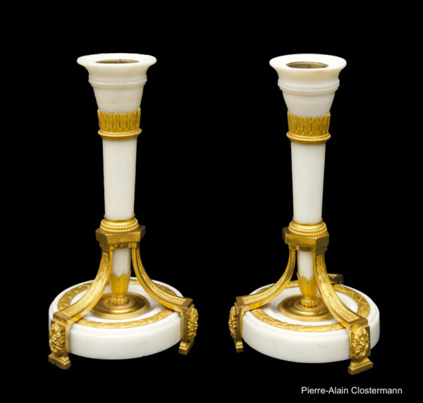 Quiver shaped candlesticks by Delafosse, circa 1780.
