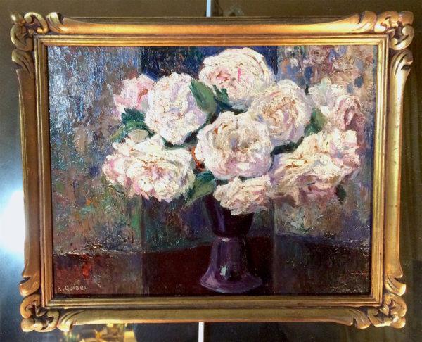 Raymond QUIBEL - White roses - Rouen's impressionist school