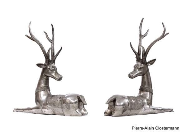 Silvered bronze deers - Thailand, Ratanakosin school.